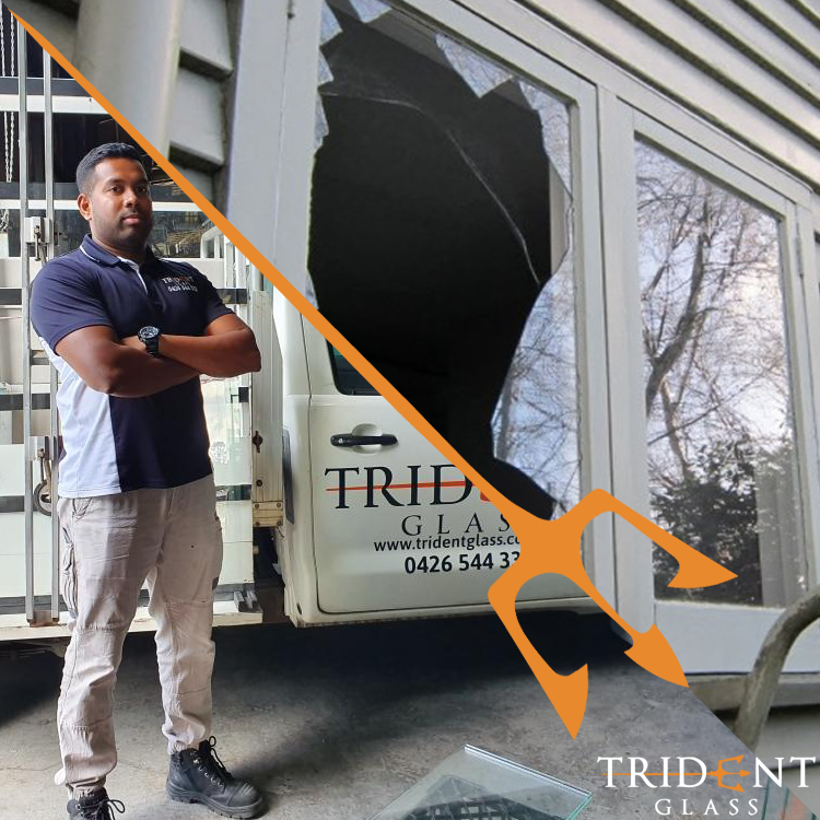 A split image of a Trident Glazier next to his truck and a broken window